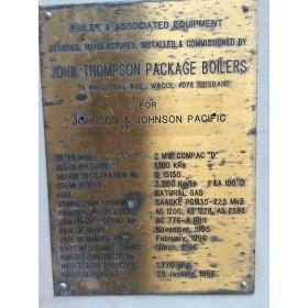 2MW, S/H, John Thompson, Water Tube, Steam Boiler